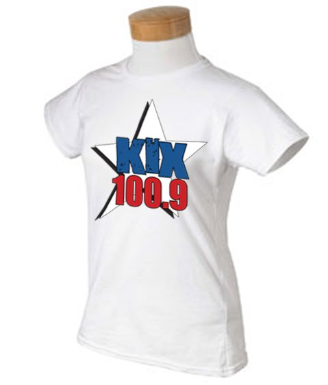 "Small - White - ""Kix 100.9"" 100% Cotton Ladies T-shirt"
