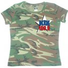 "Medium - Camouflage - ""Kix 100.9"" 100% Cotton Ladies T-shirt"