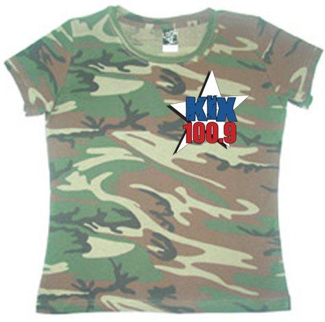 "XXL - Camouflage - ""Kix 100.9"" 100% Cotton Ladies T-shirt"