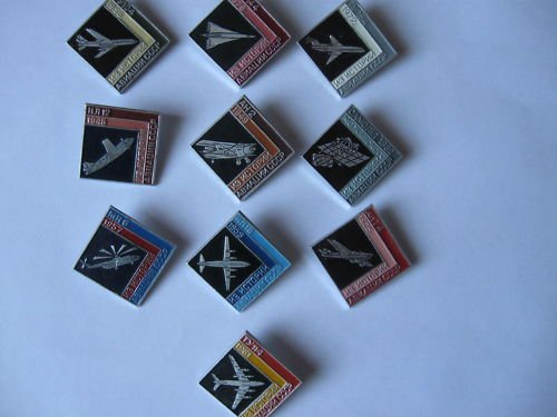 Russian/Soviet Aircraft. Set of 10 Badges