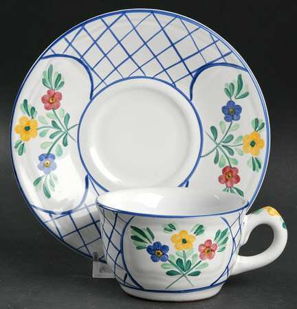 Herend Village Lattice Hill Cup and Saucer
