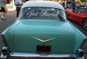 Simple Wedding Getaway Car Decals
