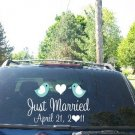 Wedding Getaway Car Decals Just Married Love Birds II