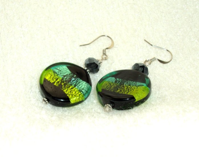 Sea Green Lampwork Glass Bead Earring