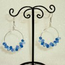 Blue tear drop beads hoop earrings
