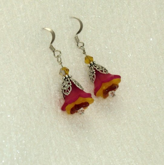 pink and yellow autumn flower earrings