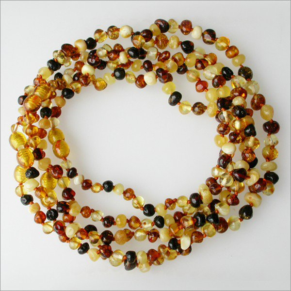 Lot of 5 Baby teething Baltic amber beads necklaces