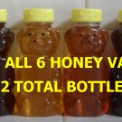 Save 20% - 12 Pack Assortment of Pure Raw Honey (2 each of all 6 varieties) Item# Assort-12