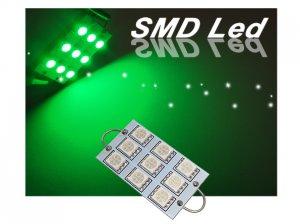 GP Thunder 1142 211-2 561 562 564 44mm 9-SMD LED Green Rigid Loop Light Bulb