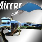 Custom Chrome Motorcycle Diamond Flame Mirror w/ Blue Tint fits all Harley Davidsons, Suzuki, Honda,