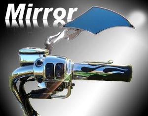 Custom Chrome Motorcycle Diamond Flame Mirror w/ Blue Tint fits all Harley Davidsons, Suzuki, Honda,