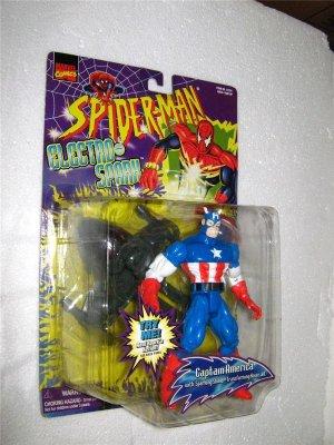 SPIDERMAN ELECTRO SPARK CAPTAIN AMERICA ACTION FIGURE 1997 TOYBIZ