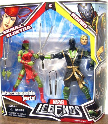 MARVEL LEGENDS TOYS R US EXCLUSIVE SKRULL ELEKTRA & RONIN ACTION FIGURE 2 PACK HASBRO