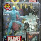 MARVEL LEGENDS SERIES WAVE 8 ICEMAN ACTION FIGURE W/ DISPLAY STAND BASE & COMIC 2005 TOYBIZ X-MEN