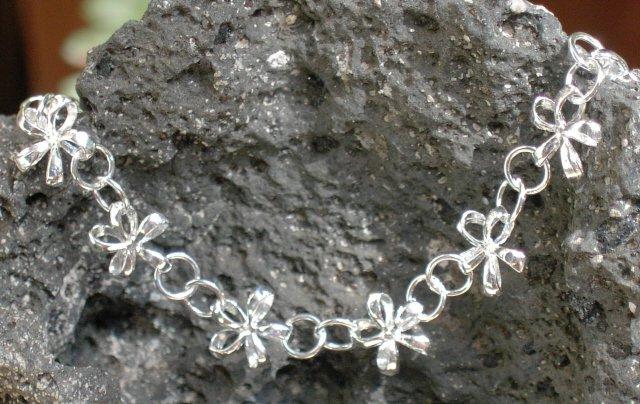 Silver Hawaiian Plumeria Flower Bracelet