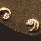 Silver Moon Earrings with CZ