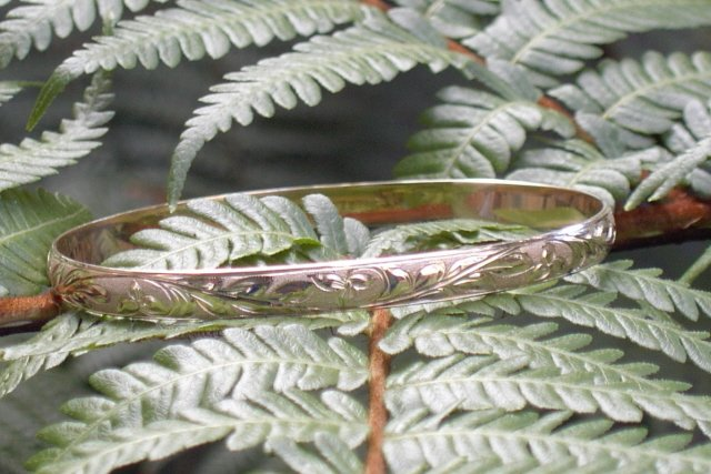 14kt Gold Hawaiian Heirloom Bracelet, 6mm sz 8.5