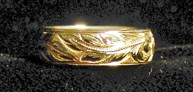 14kt  Gold Traditional Hawaiian Heirloom Ring, 8mm, sz 10.00
