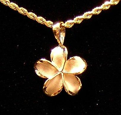 14kt Gold Hawaiian Plumeria Flower Pendant, medium