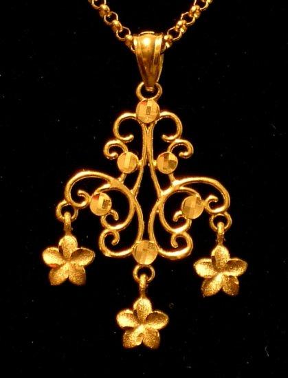 14kt Gold  Chandelier Hawaiian Plumeria Flower Pendant