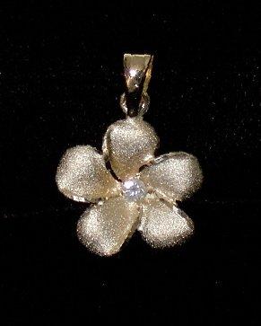 14kt Gold and Diamond Hawaiian Plumeria Flower