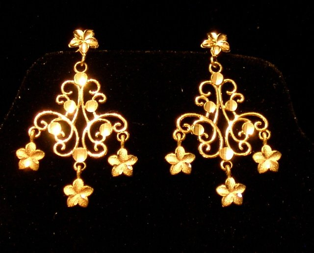 14kt  Gold Hawaiian Plumeria Chandelier Earrings