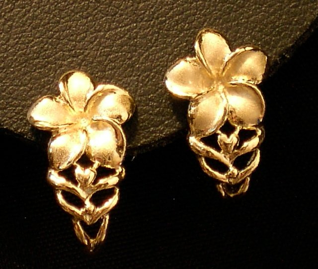 14kt Gold  Hawaiian Plumeria Flower Earrings