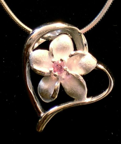 Silver Plumeria Flower and Heart Pendant