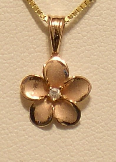 14kt Rose Gold Hawaiian 10mm Plumeria Pendant w/ cz stone