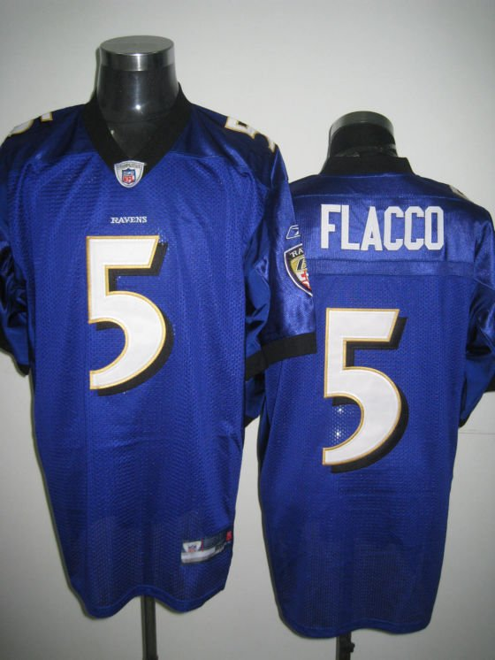 Baltimore Ravens # 5 Flacco NFL Jersey Purple