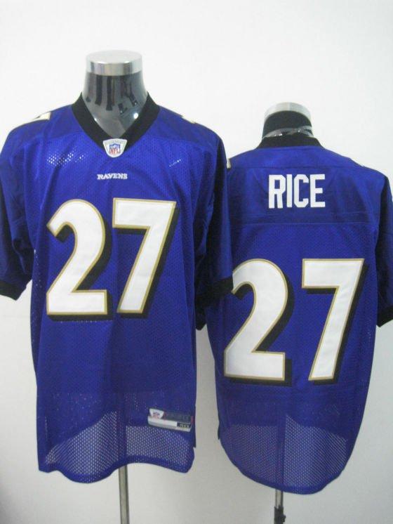 Baltimore Ravens # 27 Rice NFL Jersey Purple