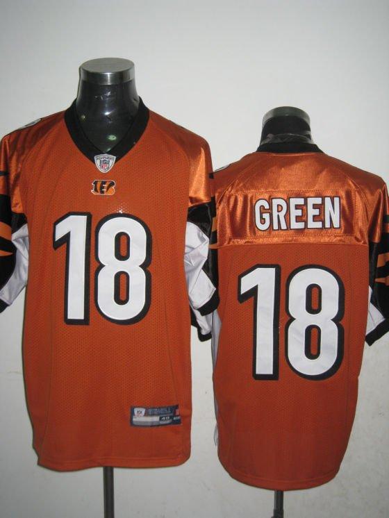 Cincinnati Bengals # 18 Green NFL Jersey Orange