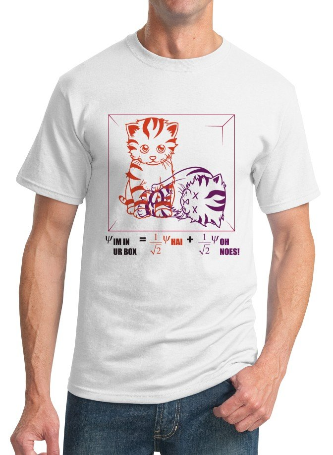 Physics T-Shirt - Size S - Unisex White - Schrodinger's LOLcat (Hot Version)