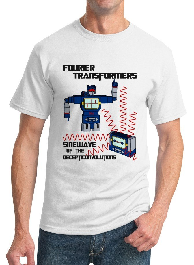 Math T-Shirt - Size S - Unisex White - Fourier Transformers / Sinewave