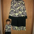 Girls handmade capri outfit 2t-5t with matching hairbow and 18in doll outfit