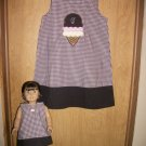 Girls Aline Dress monogrammed 6m-3t with a matching 18in doll dress and hairbow