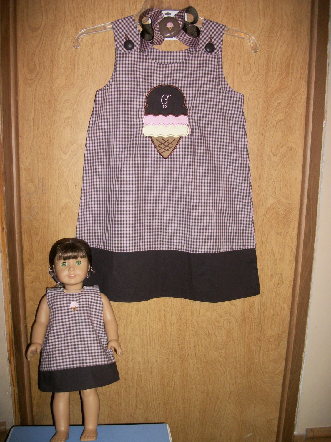 Girls Aline Dress monogrammed 4t-8yrs with a matching 18in doll dress and hairbow