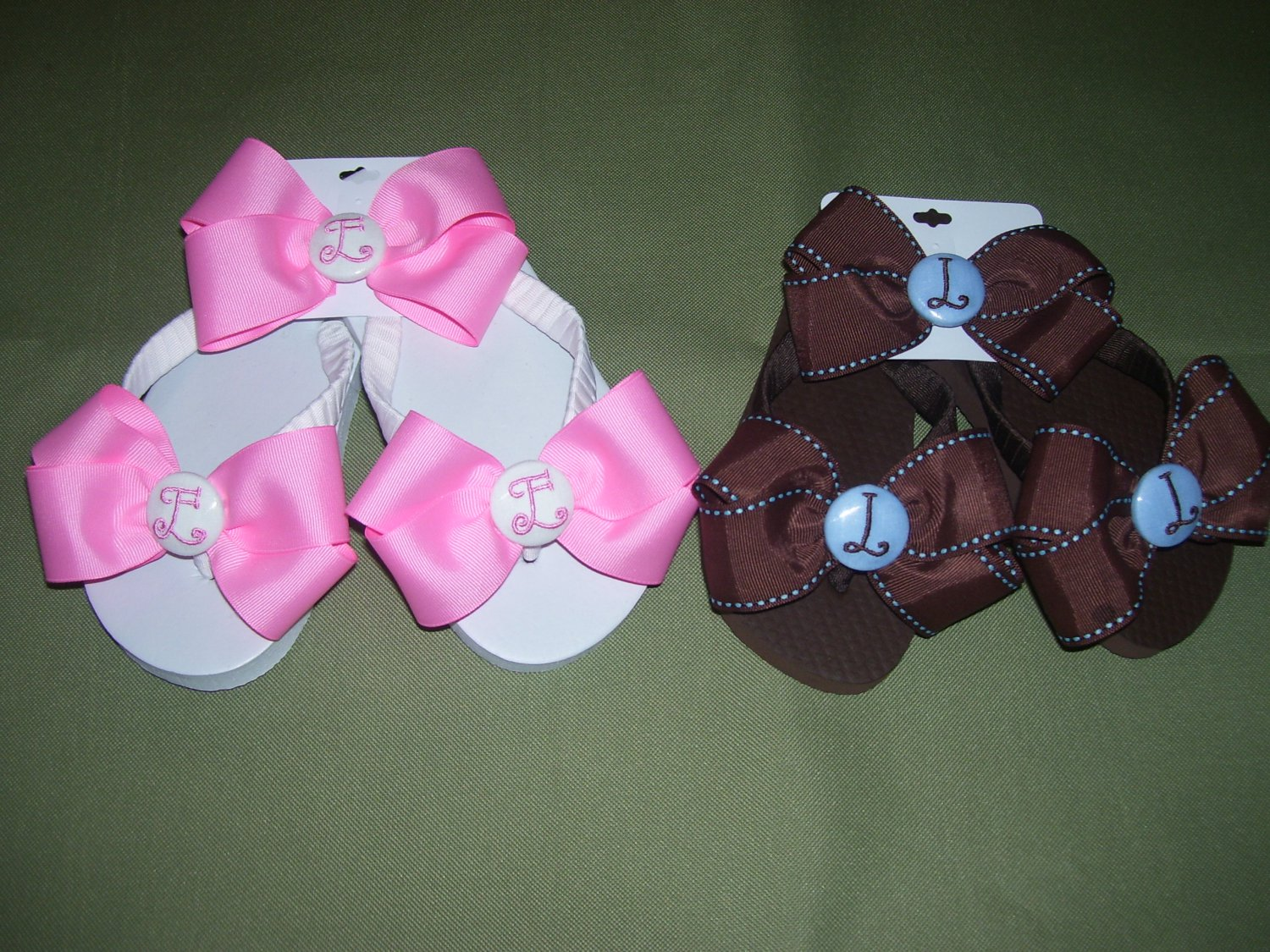 custom boutique flip flops and hairbow personalized
