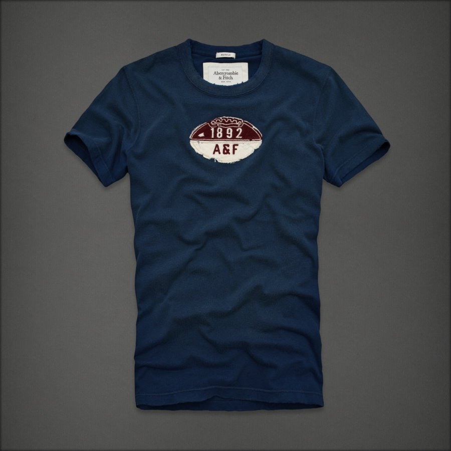 NWT Abercrombie Mens Big Slide t shirt blue M