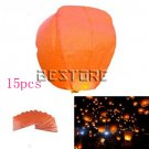 15pcs Chinese Flying Paper Fire Sky Lantern Wish Balloon For Wedding Festival Christmas Orange