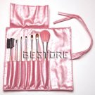 Pink 7 PCS Cosmetic Makeup Brush Set Pouch