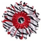 Red Zebra  daisy hairclip