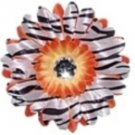 Orange Zebra  daisy hairclip