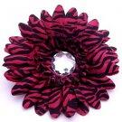 Pink Zebra  daisy hairclip