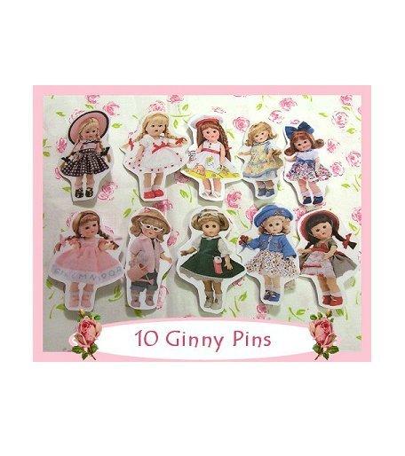 """10 Mini """"Ginny"""" Doll  Pins P22"""