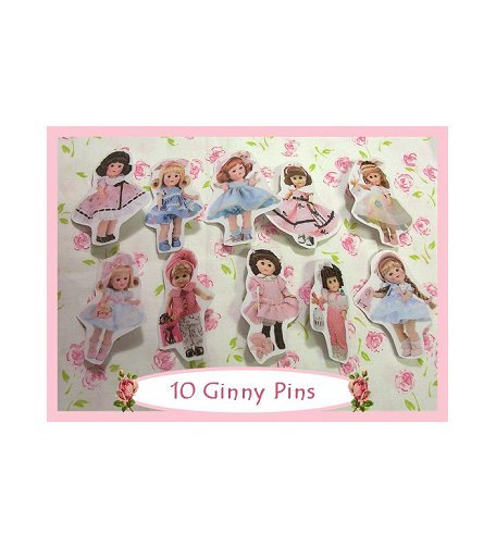 "10 Mini ""Ginny"" Doll  Pins P23"