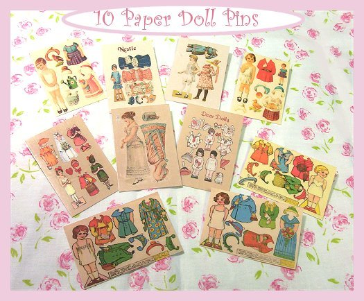 10 Mini Vintage Style Paper Doll  Pins P21