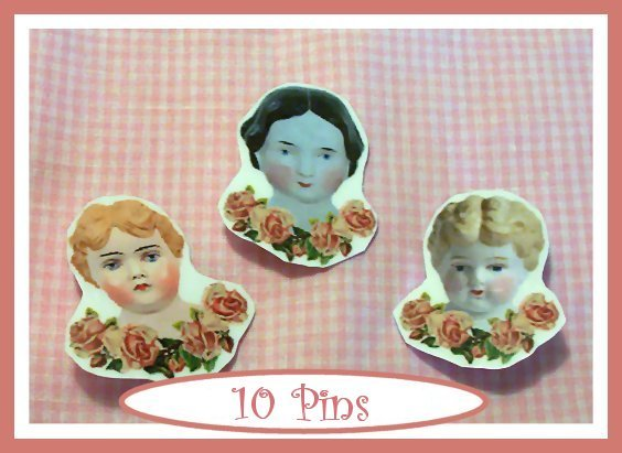 10 Mini China Doll  Pins P25 Doll or Teaparty Favors