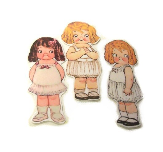 3 Vintage Style Paperdoll Thread/Ribbon/L�ace Keeper A4