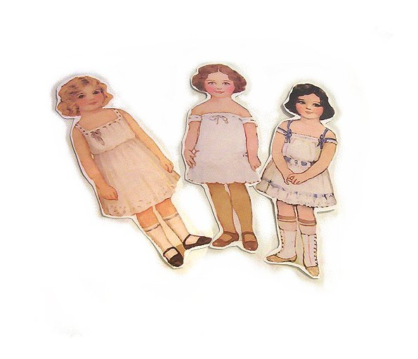 3 Vintage Style Paperdoll Thread/Ribbon/L�ace Keeper A6